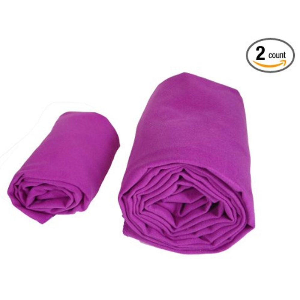 """Elite Yoga Gear Yoga Towels Combo Set. Includes 100% Microfiber Super Absorbent 24"""" x 72"""" Mat Towel and 15"""" x 24"""" Matching Microfiber Hand Towel. Perfect Equipment / Accessory For Hot Yoga, Pilates, Fitness, Exercise Workouts and More. 100% Satisfaction Guarantee!"""